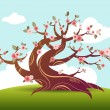 Blossom tree bonsai japanese - Stock Vector