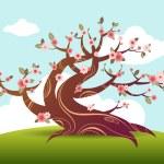 Blossom tree bonsai japanese — Stock Vector #5715600