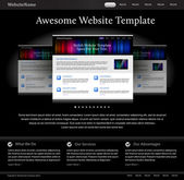 Black stylish website template for designers — Stock Vector