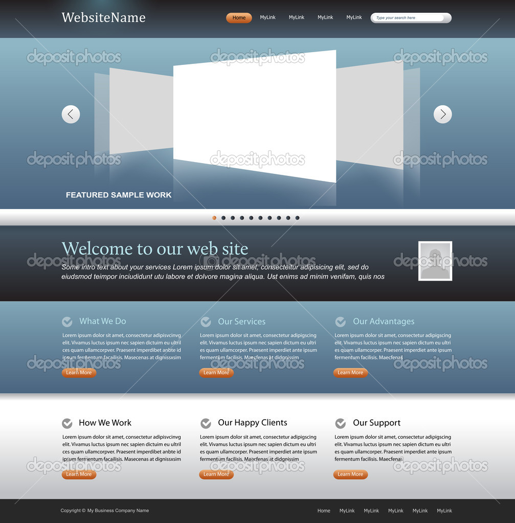 Business web site template - subtle blue, gray, white colors — Stock vektor #5715348