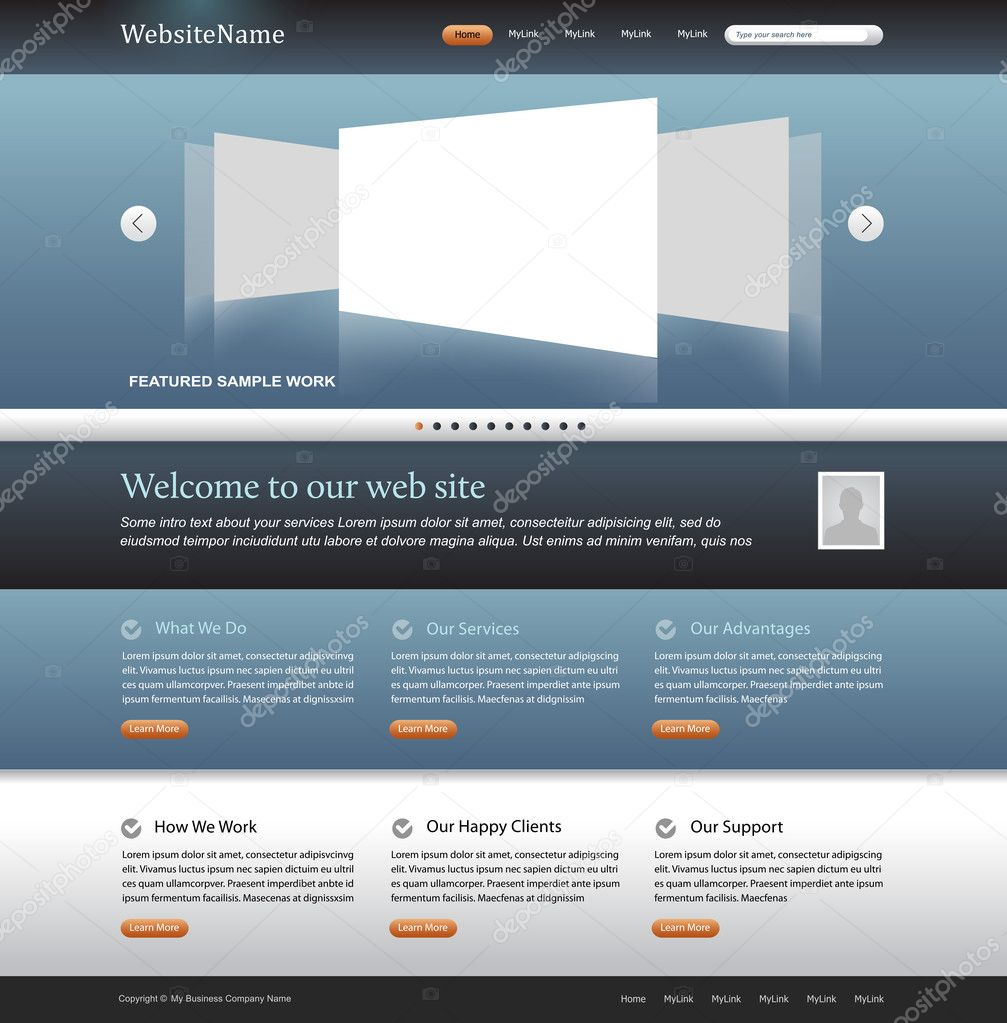 Business web site template - subtle blue, gray, white colors — Векторная иллюстрация #5715348