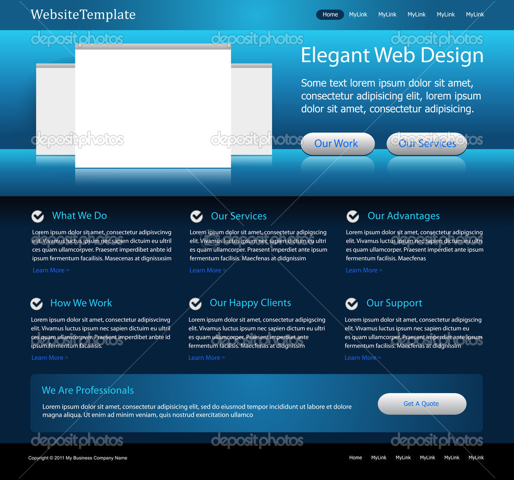 Elegant business blue website editable vector template  Stock Vector #5715383