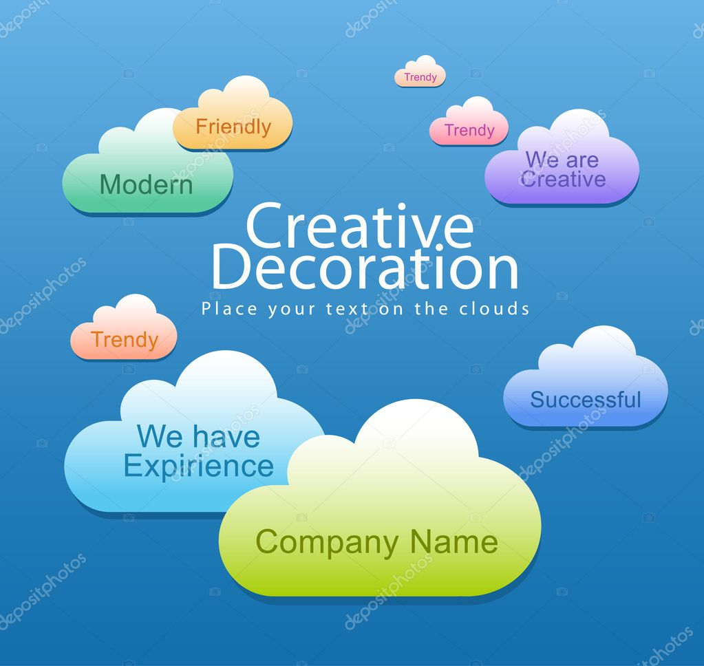 Editable creative  bubble speech clouds on sky  Stock Vector #5715409