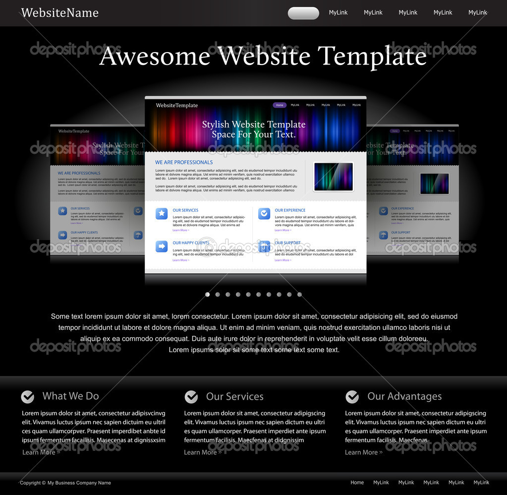 depositphotos 5715552 Black stylish website template for designers Grey Modern Website Design Elements: Buttons, Form, Slider, Scroll, Icons, ...