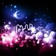 Abstract night city vector background — Stock Vector