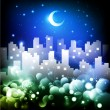Stock Vector: Night cityscape illustration