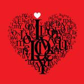 Love background - typographic heart shape — Cтоковый вектор