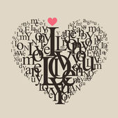 Heart shape from letters - typographic composition — Vector de stock