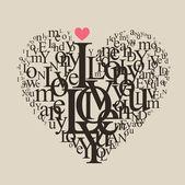 Kalp şekli gelen mektuplar - tipografik kompozisyon — Stok Vektör