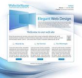 High tech company blue business website template - editable — Stock Vector