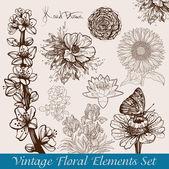 Conjunto de flores vintage — Vector de stock