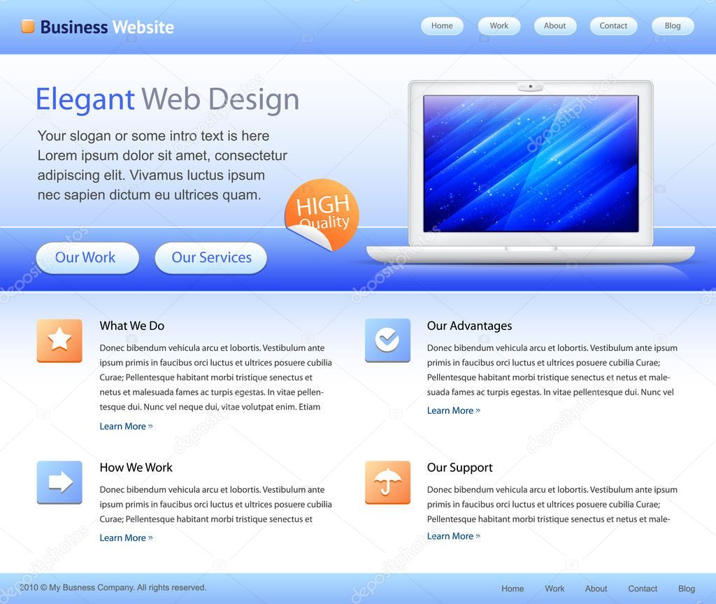 Blue Business Website Template Home Page Design Stock Vector Silvertige