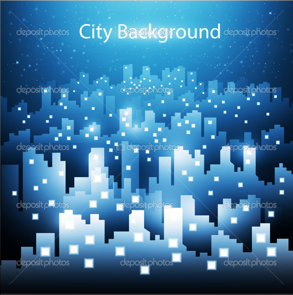 abstract city skyline background at night � stock vector
