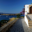 Lindos old street with sea view — 图库照片