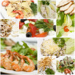 Stock Photo: Gourmet salads collage - European cuisine. Healthy eating