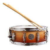 Drum and drumsticks isolated on white — Foto de Stock