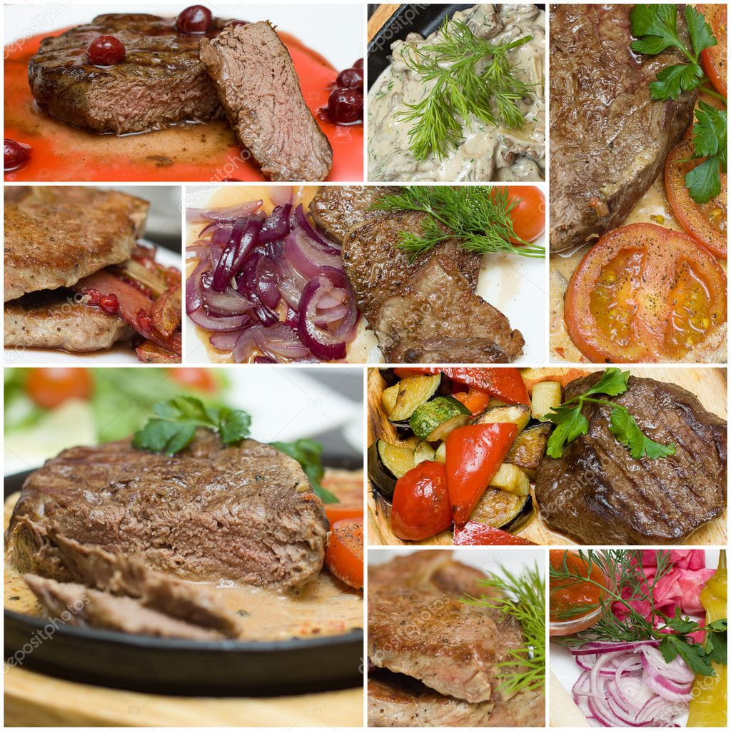 Gourmet meat collage - beef, veal and pork steak with garnish — Stock Photo #5680061