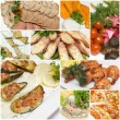 Food collage - appetizer and snack in gourmet restaurant — Stock Photo