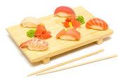 Sushi with Salmon, Tuna and Shrimp Isolated on White — Stock Photo