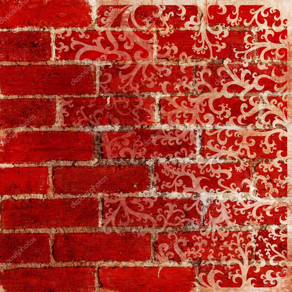 Red Brick Patterns http://depositphotos.com/5987432/stock-photo-Vintage-background---red-brick-wall-and-floral-pattern.html