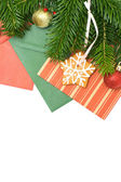 Green Xmas Tree and Decoration Isolated - Christmas Background — Stock Photo