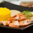 Rice and shrimps - gourmet food — Stock Photo