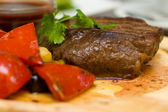 Steak with garnish closeup - Mexican cuisine — Stock Photo