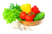Colorful Vegetables with Green Leaf Isolated on White Background — Stock Photo