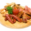 Stock Photo: Meat and sausage assortment - Gourmet German cuisine isolated