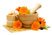 Calendula flowers with bath soap isolated - Alternative medicine — Stock Photo