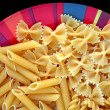 Stock Photo: Dish with four kinds of pasta