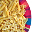 Plate with pasta variety — Stock Photo