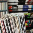 Foto Stock: Vinyl records at record store