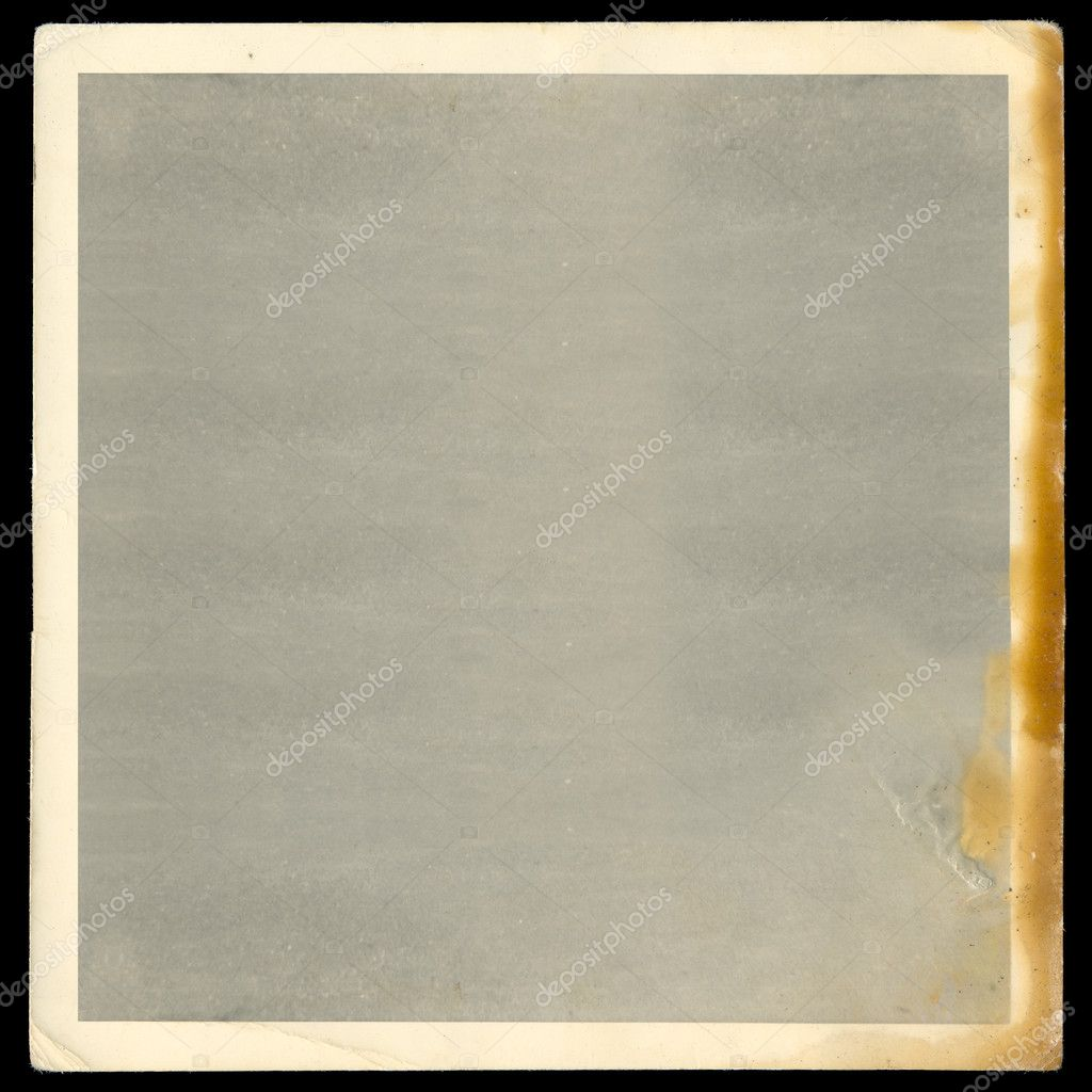Vintage old blank burned photograph design element with white border. — Stock Photo #5425341