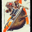 African musical instruments postage stamp - Foto Stock