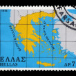 Map of greece postage stamp - Foto Stock
