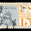 Statue of liberty postage stamp — Stock Photo