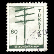Telephone pole postage stamp — Stock Photo