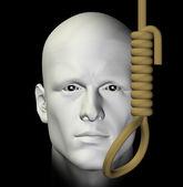 Självmordsbenägen man och hängande snaran 3d illustration — Stockfoto