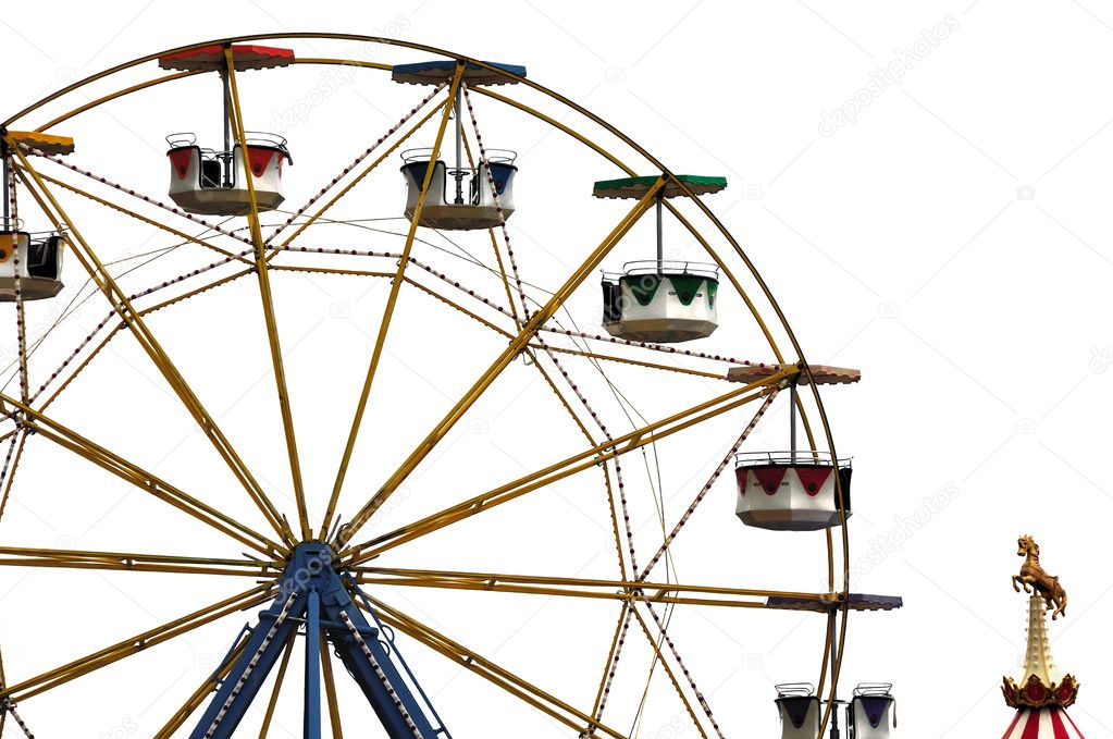 Colorful ferris wheel and carousel horse in amusement park. — Stock Photo #5538207