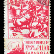 Bullfighting vintage postage stamp - Stock Photo