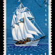 Sailboat vintage postage stamp — Stock Photo