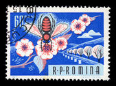 Honey bee on flower vintage postage stamp — Stok fotoğraf