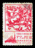 Bullfighting vintage postage stamp — Stockfoto