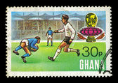 Football match postage stamp — 图库照片