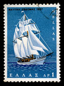 Sailboat vintage postage stamp — Photo