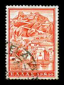 Santorini vintage postage stamp — Stock Photo