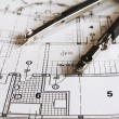 Dividers on architectural paln — Stock Photo