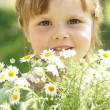 Little girl with daisies — Stock Photo