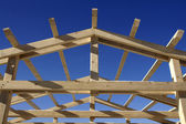 Wooden roof during the early stages of construction — Stock Photo